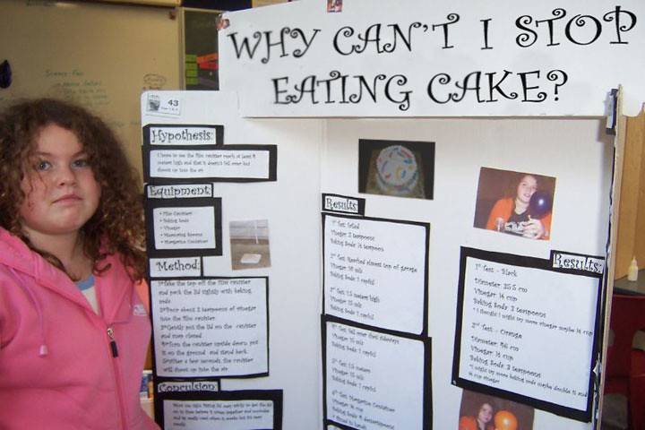 A girl's science project is titled,