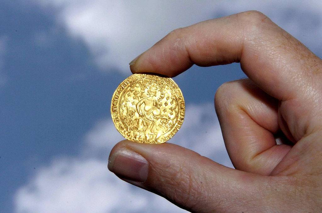 A rare Edward III Gold Double Florin against a sky background