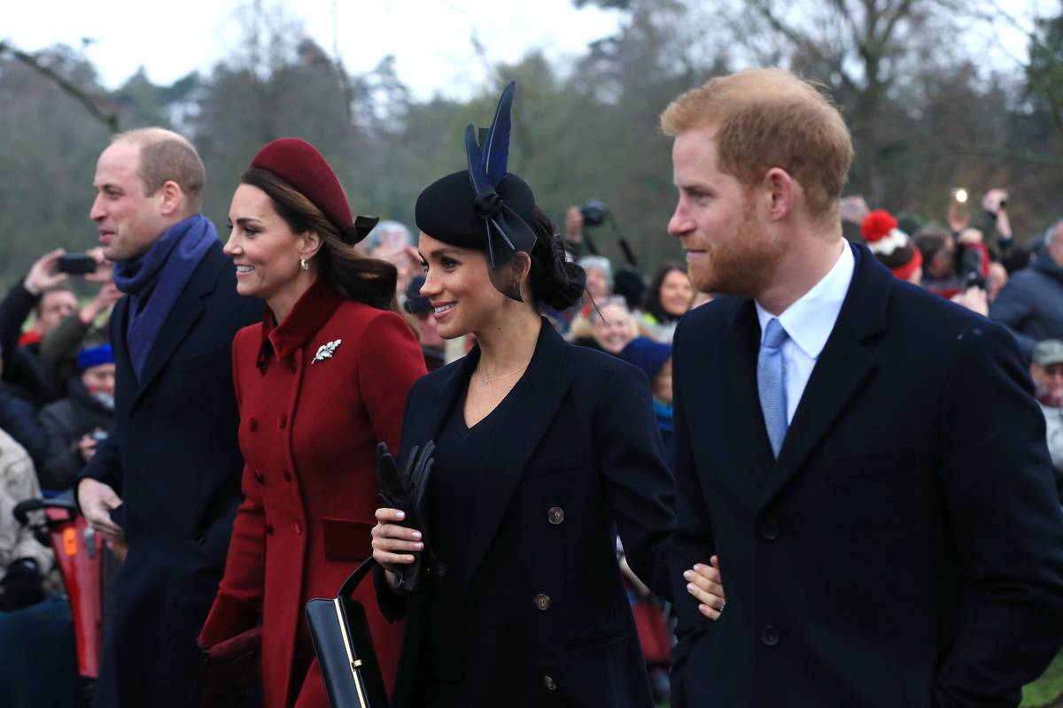 Prince William, Duchess Kate, Duchess Meghan, and Prince Harry all leave Christmas Day Church service, 2018.
