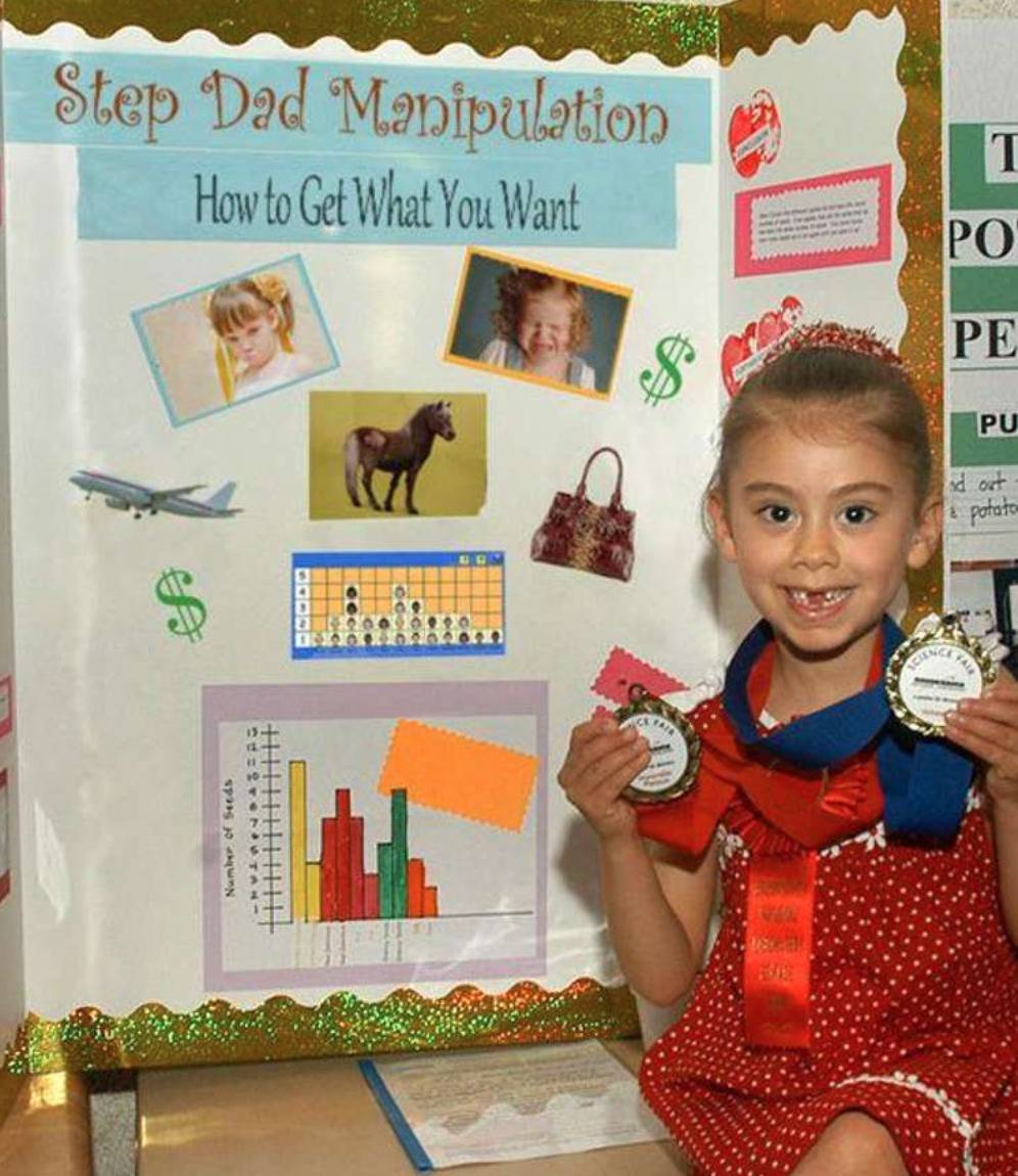 A little girl's science project is on