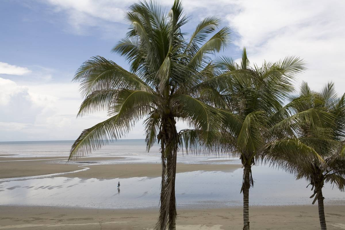 A single person is alone on a tropical beach.