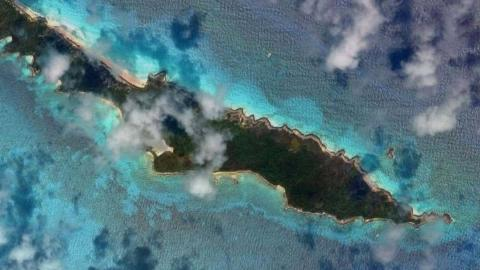 The deserted island Anguilla Cay is seen from an aerial shot.