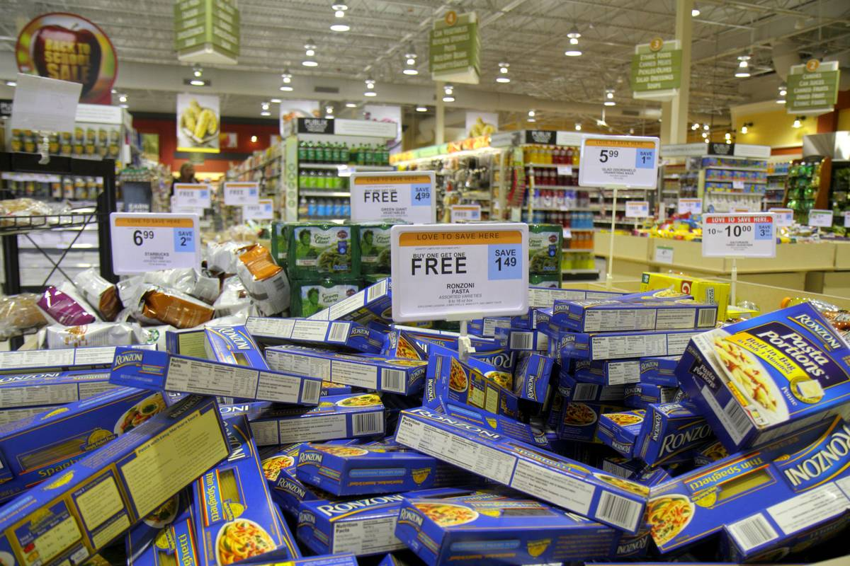 Buy one get one free retail display in Publix, grocery store.