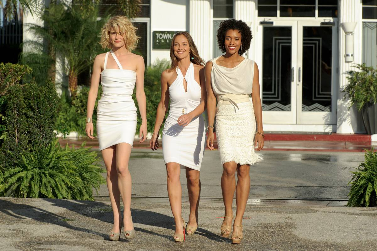 Rachael Taylor, Minka Kelly, and Annie Ilonzeh wearing white dresses on charlie's angels