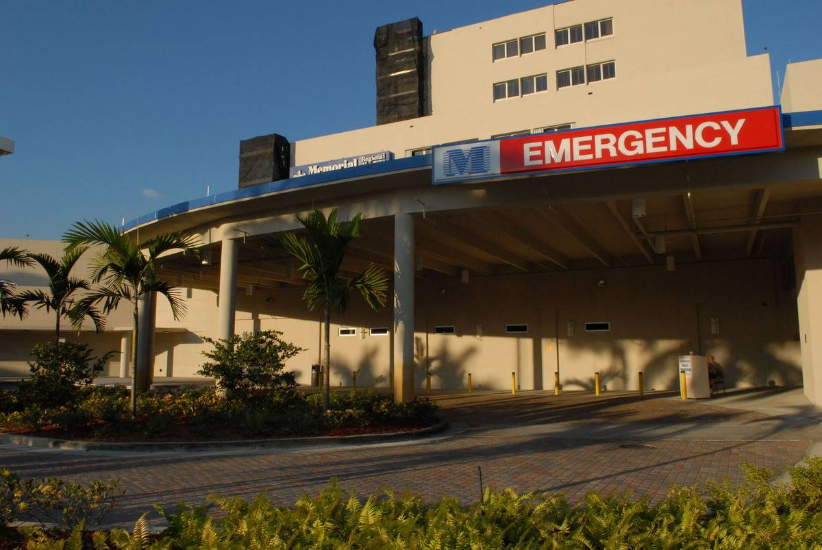 An emergency entrance to a Florida hospital is pictured.