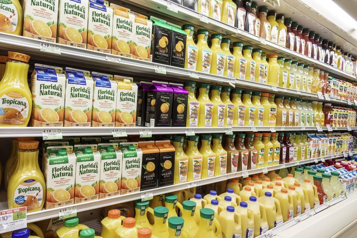 Florida, Stuart, Publix grocery store Juice display