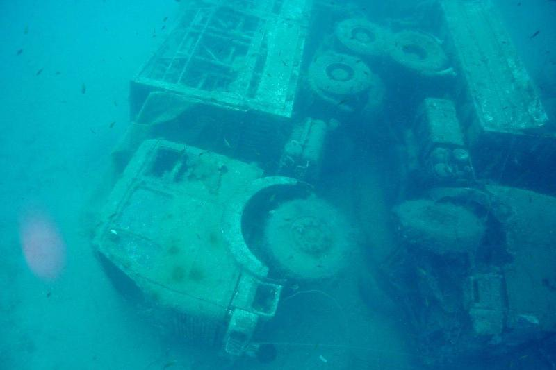 Two trucks lie at the bottom of the ocean, as a result of the MS Zenobia sinking in 1980.