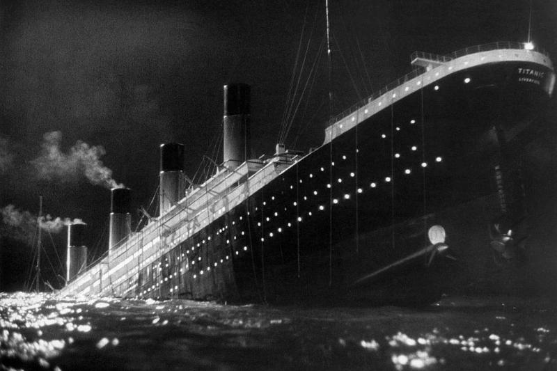The Titanic passenger liner sinking in a scene from the film A Night to Remember