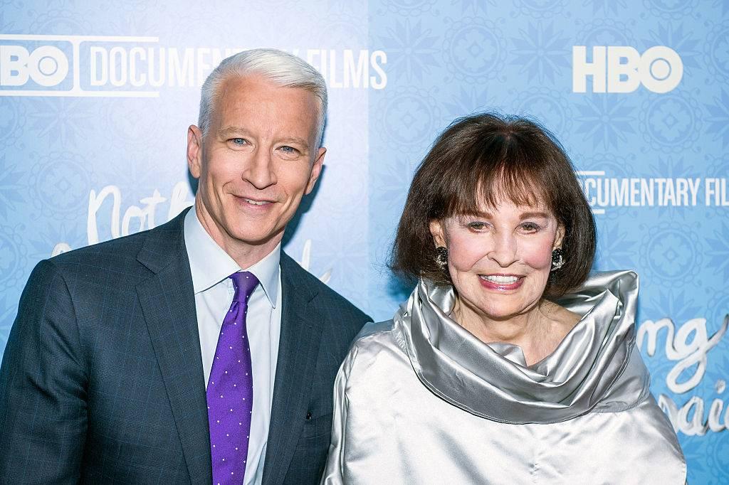Anderson Cooper and Gloria Vanderbilt attend a red carpet