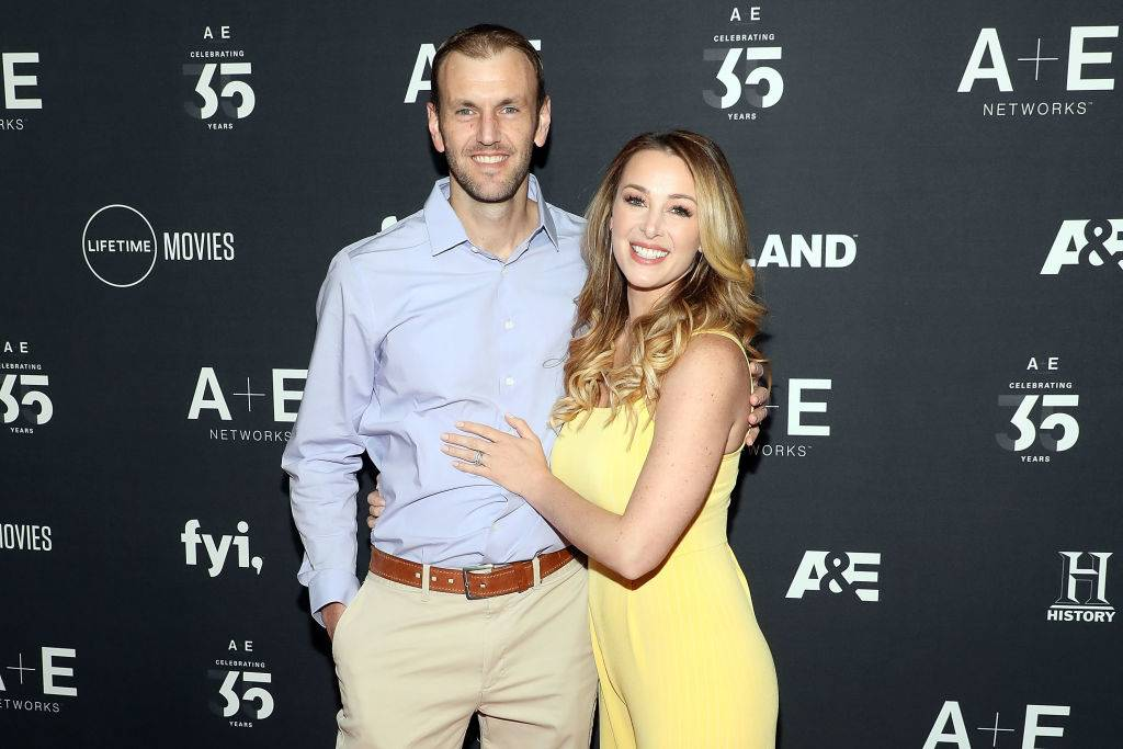 Doug Hehner and Jamie Otis attend the 2019 A+E Upfront at Jazz at Lincoln Center