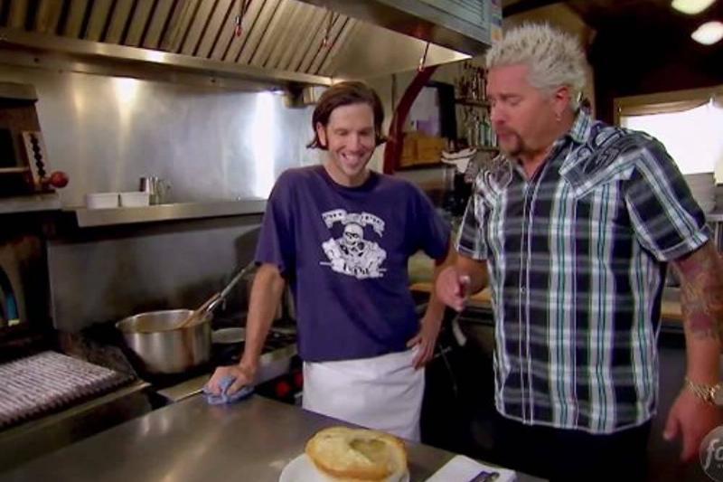 Guy Fieri tries a chicken pot pie on the episode