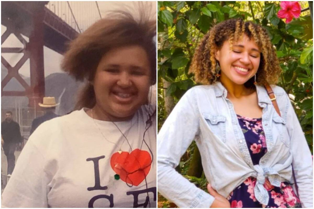 A woman shows her weight loss transformation from age 13 (left) to 26 (right).