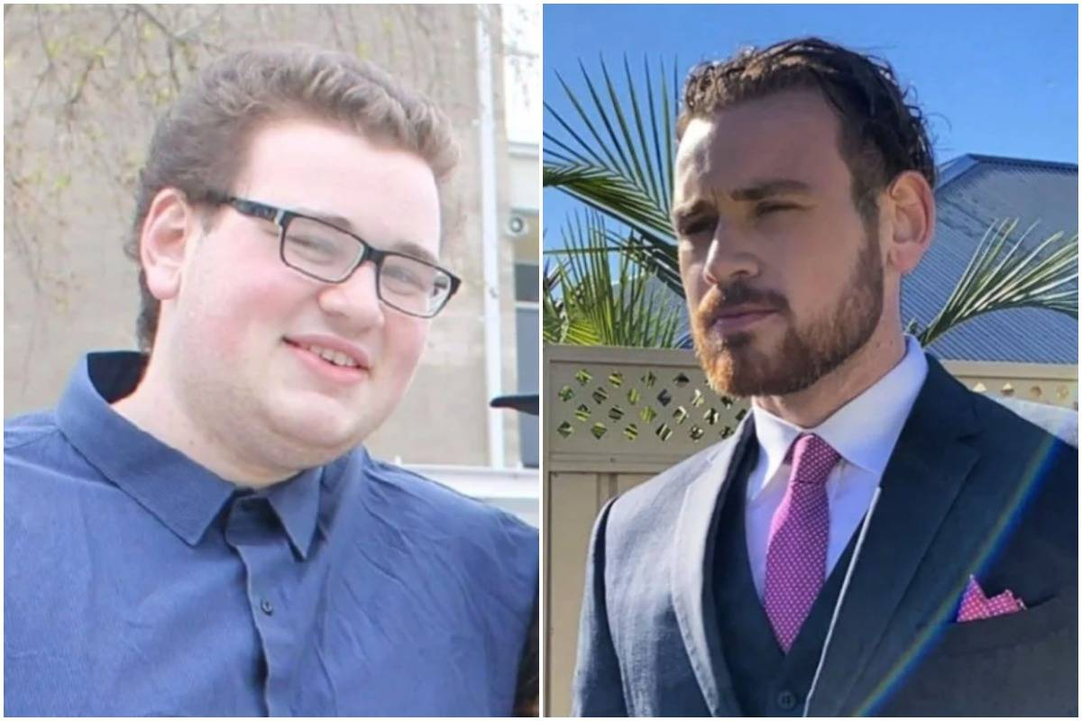 A man shows his transformation from age 18 (left) to 23 (right).