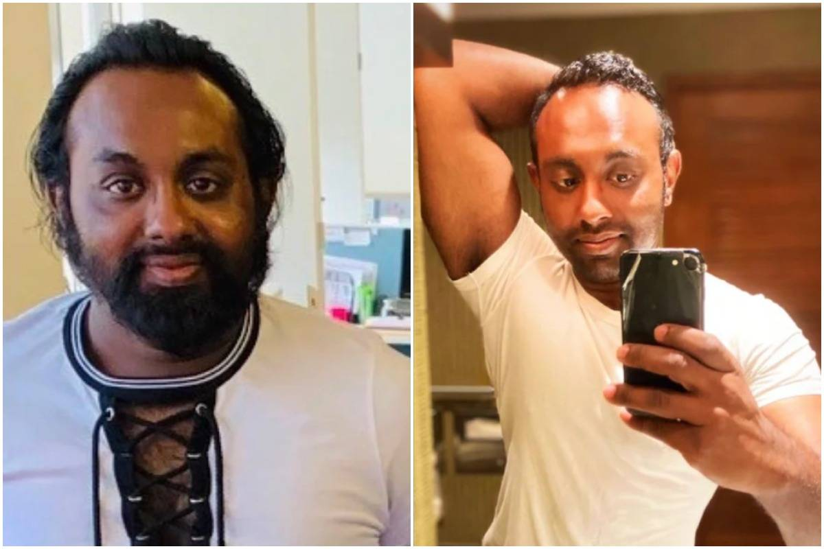 A man compares selfies from 2019 (left) to 2021 (right).