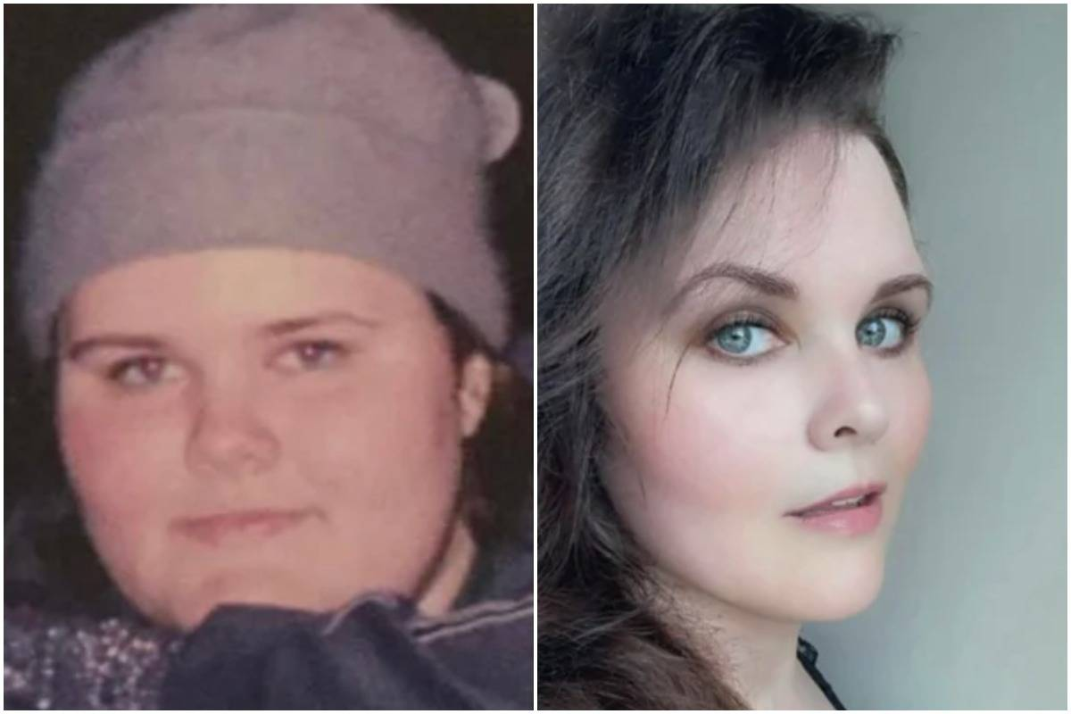 A woman shows off how she changed from age 16 (left) to 38 (right).