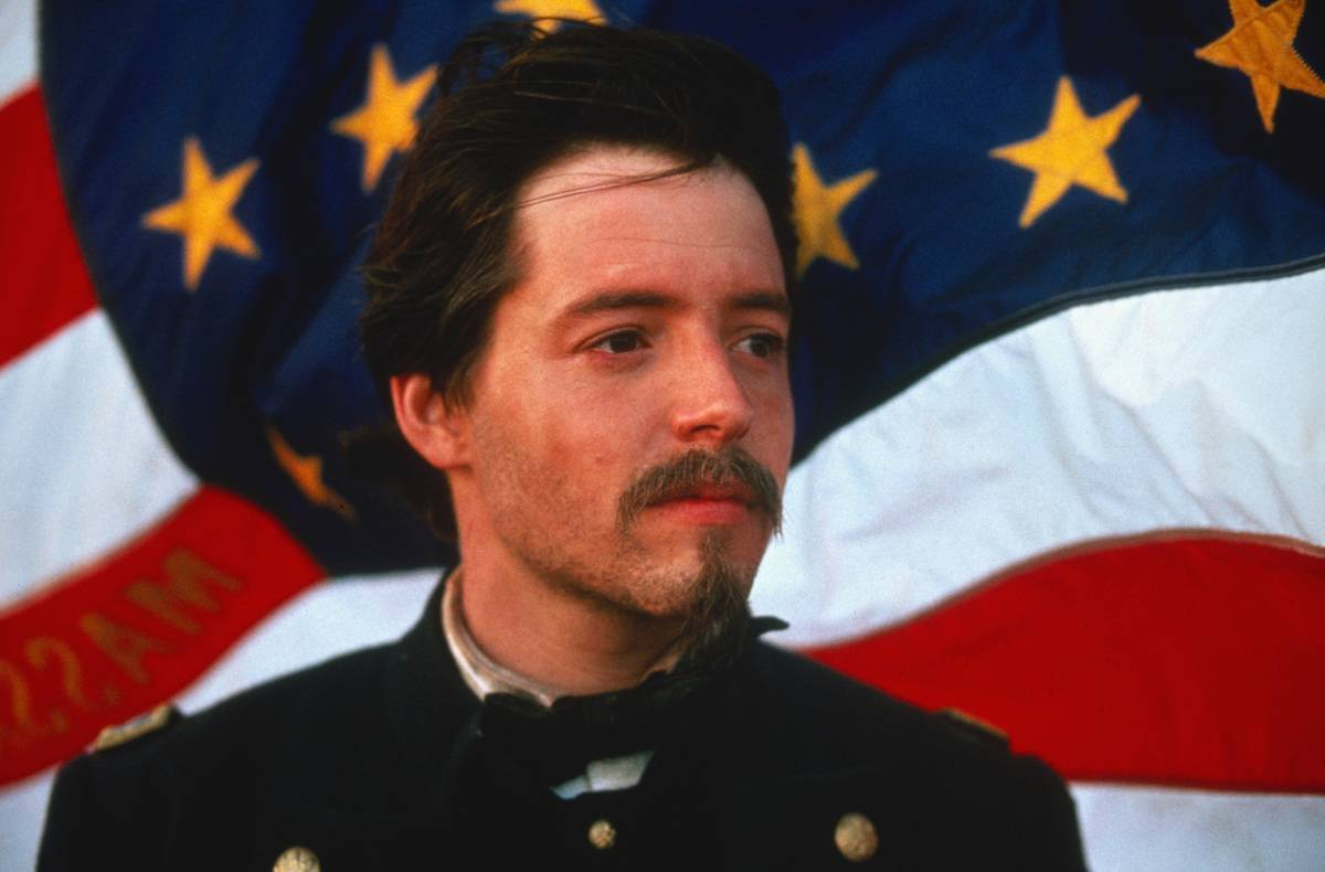 Matthew Broderick in front of the American flag in Glory