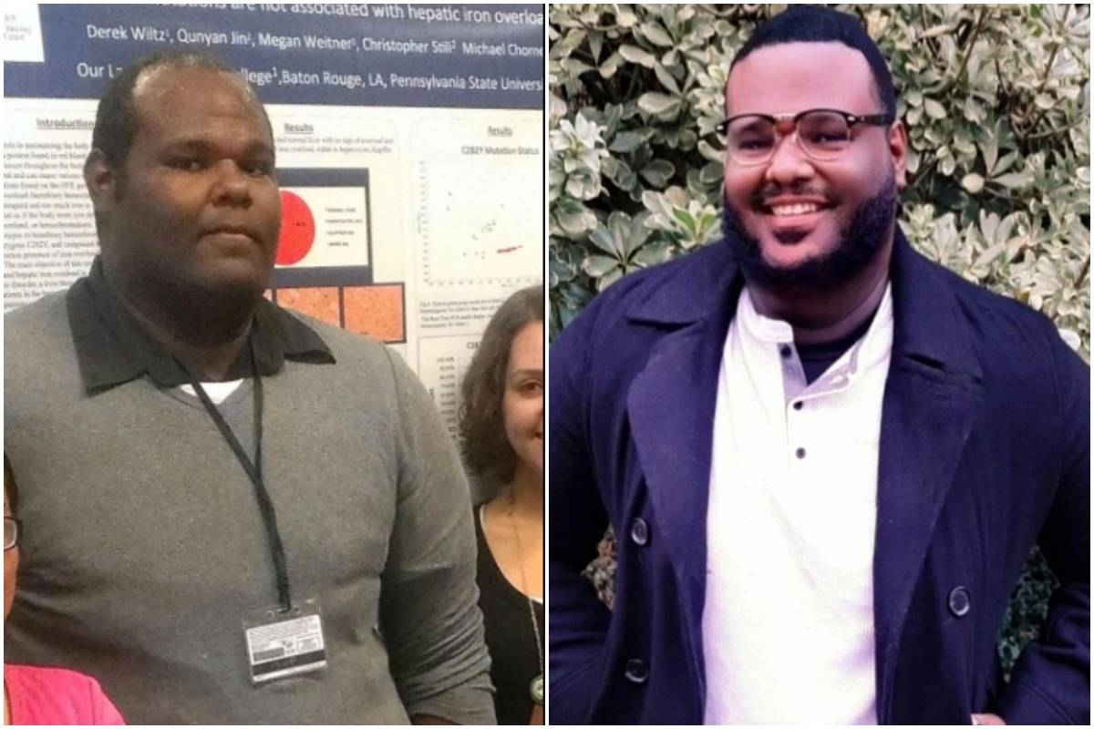 A man show the difference between himself at 25 (left) and 33 (right).