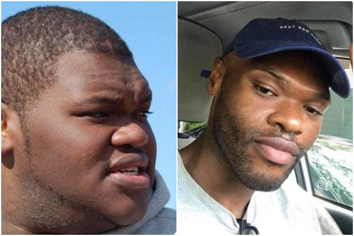 A man shows photos of himself at 19 (left) and 27 (right) after he lost 220 pounds.