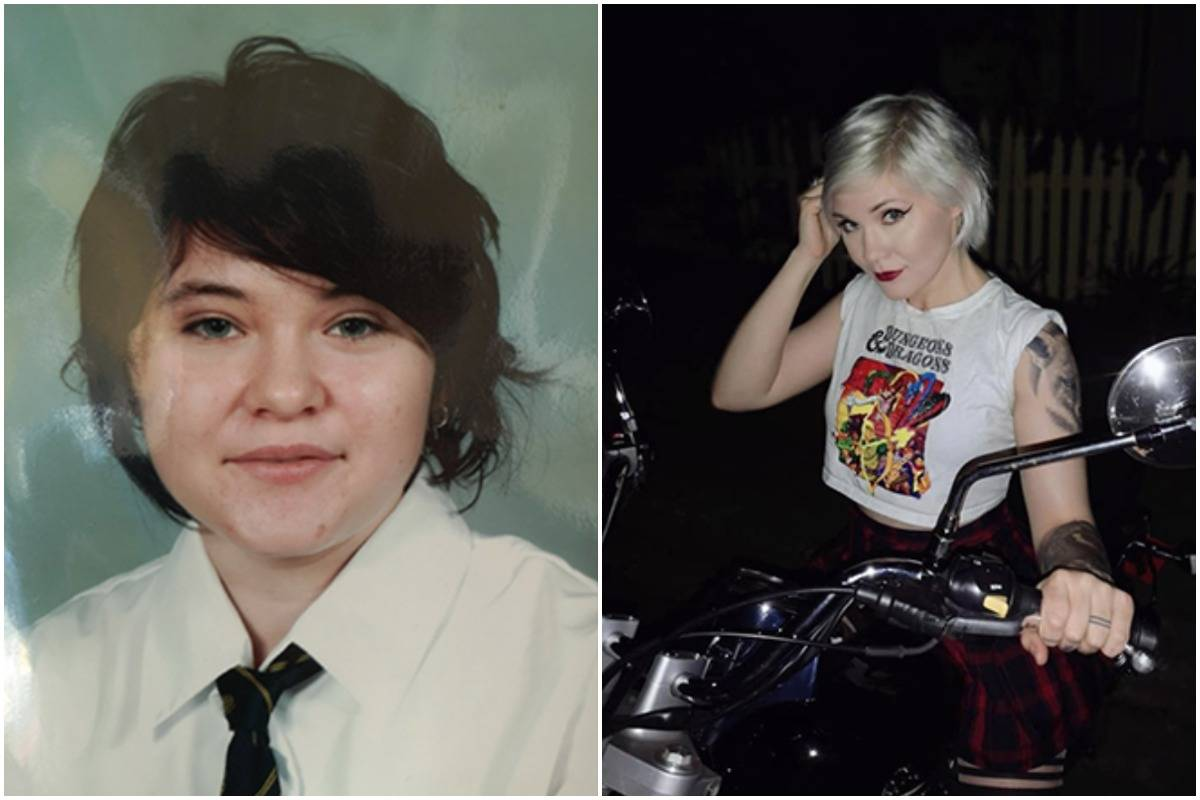 A woman shows the difference in herself from age 14 (left) to 28 (right).