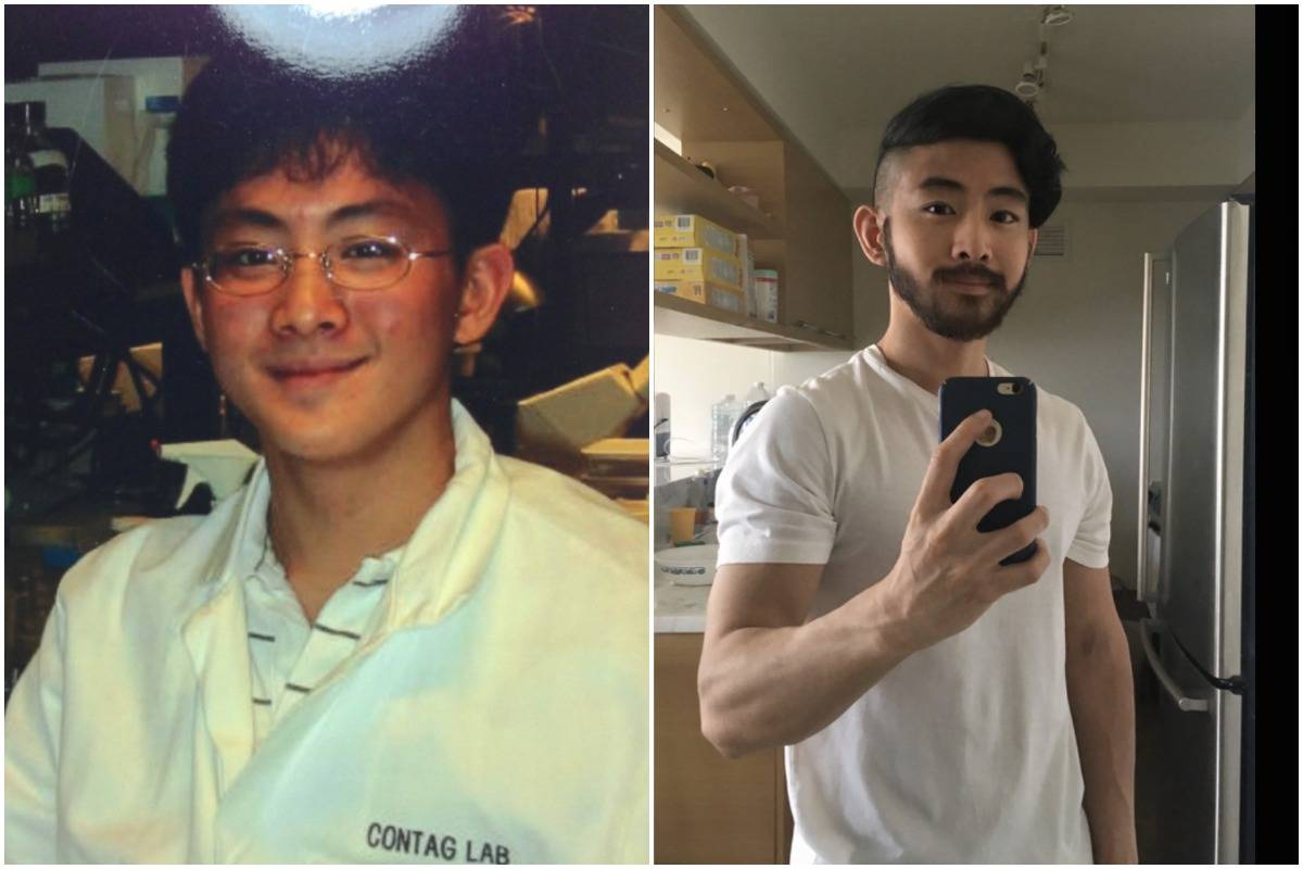 A man compares photos of himself from age 18 (left) to 28 (right).