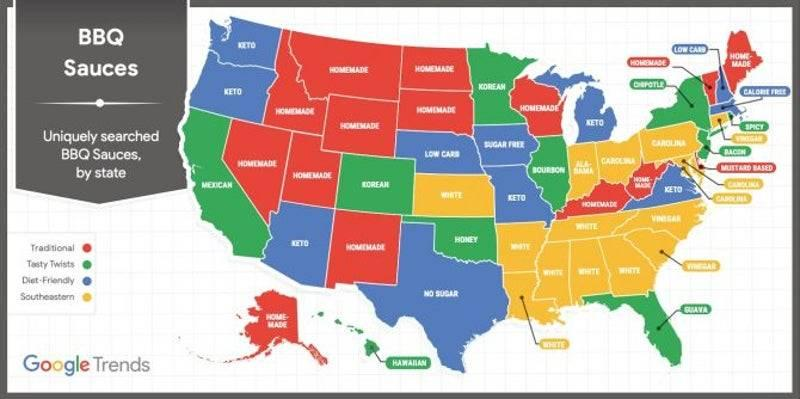 A map shows the most-googled bbq sauces in each state.