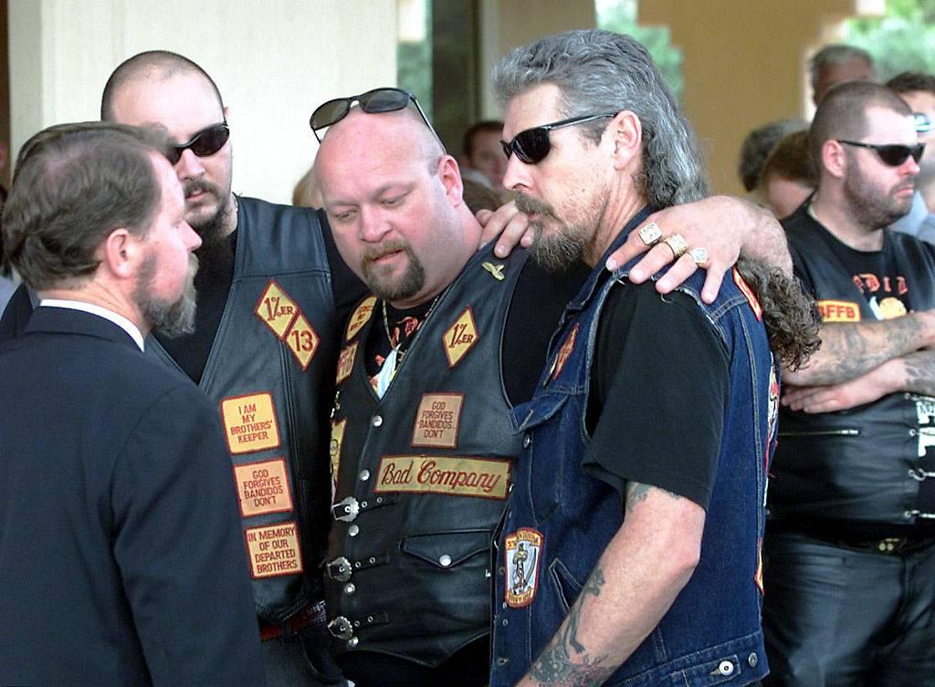 Bandidos attending a funeral