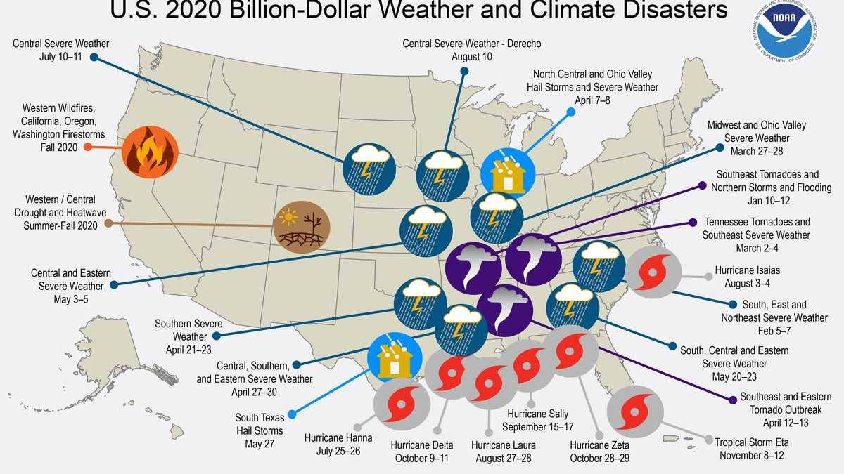 A map from the NOAA portrays the most likely weather disasters across the United States.