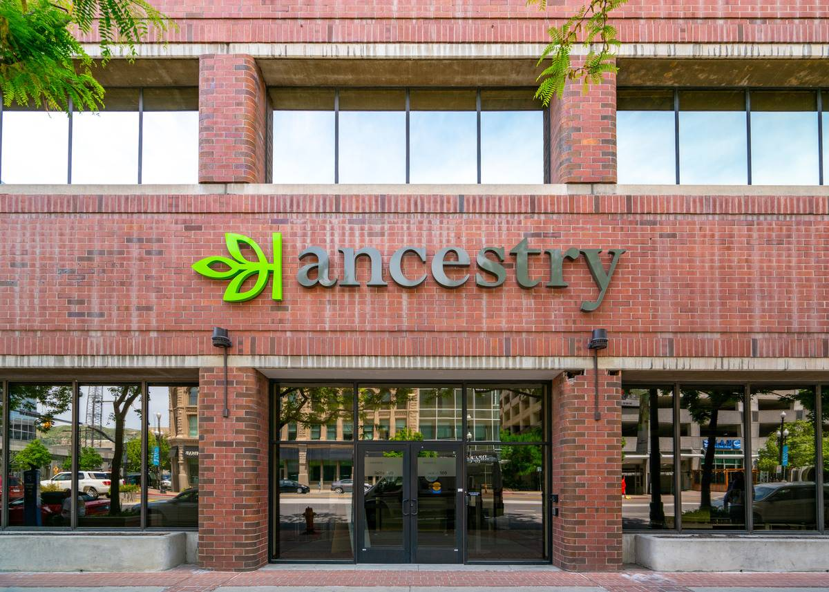 The ancestry company offices are seen in Salt Lake City, UT.