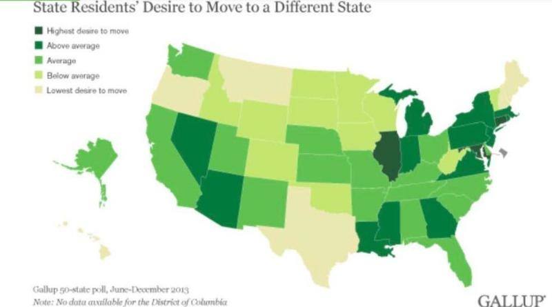 A map shows resident's desire to move out by each state.