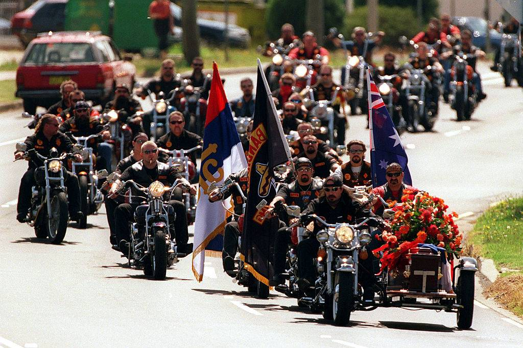 Funeral for Bandido with members riding motorcycles