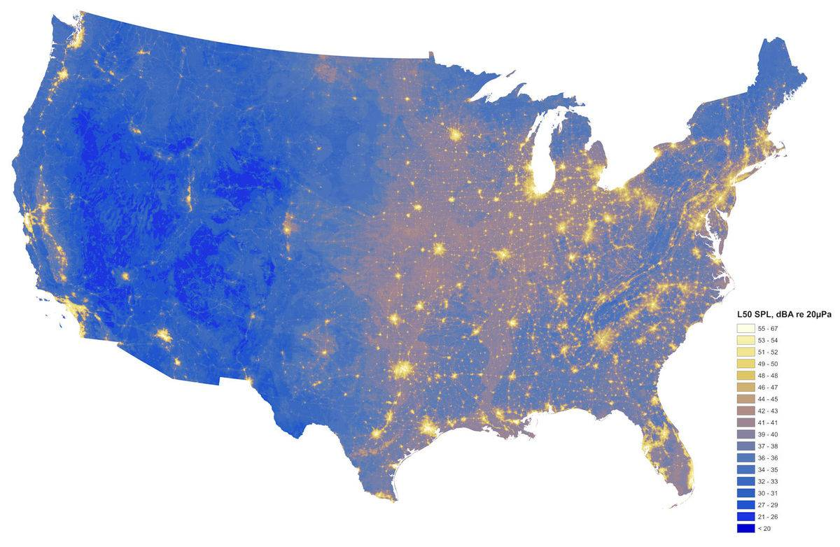 A map portrays the loudest and quietest areas in the continental United States.