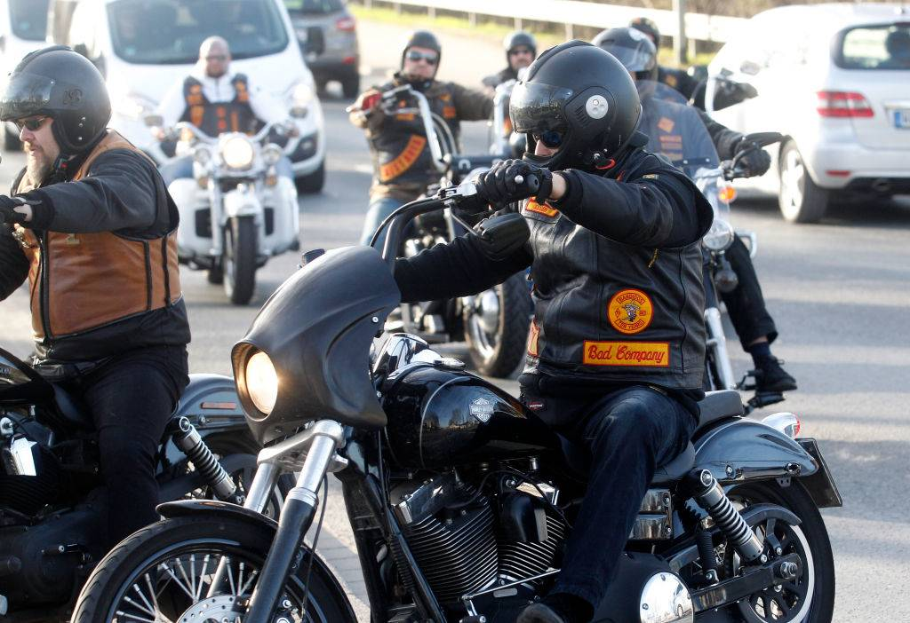 Members of the Bandidos on motorcycles