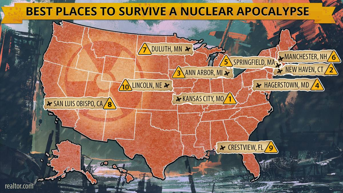 A map shows the top ten cities in the U.S. where people are most likely to survive a nuclear apocalypse.