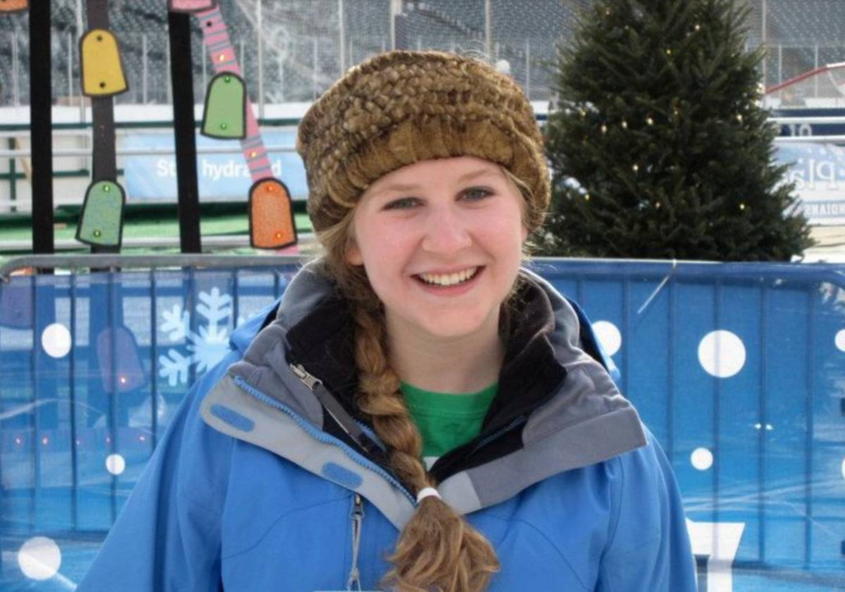 Rebecca Cartellone is photographed in snowboarding clothes.