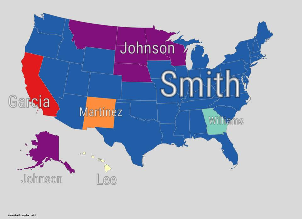 A map shows most popular surnames in every U.S. state.