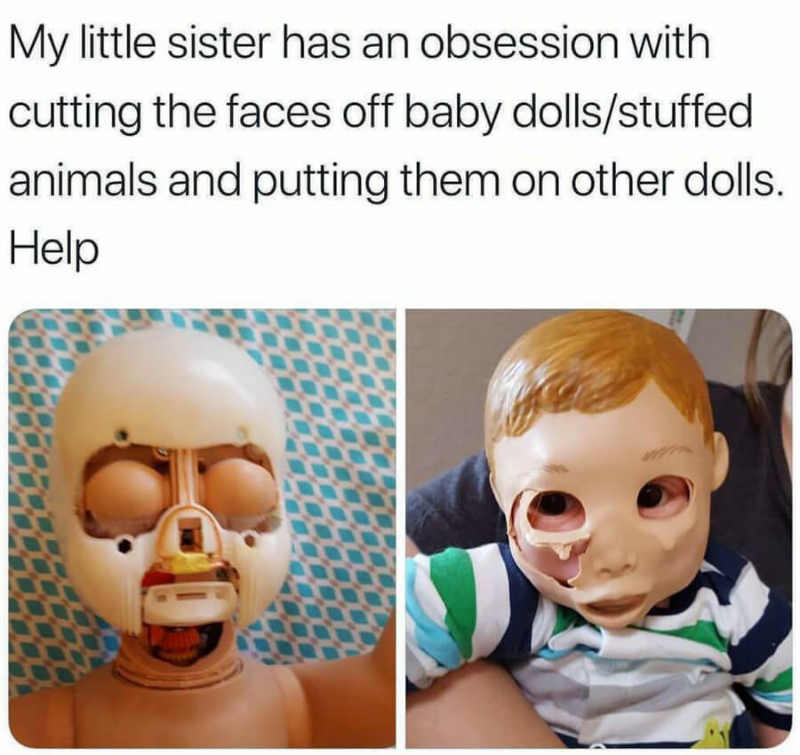 cutting faces off dolls.jpg